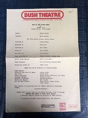 Rare MARK RYLANCE Kiss Of The Spider Woman BUSH THEATRE 1985 Cast List PUIG