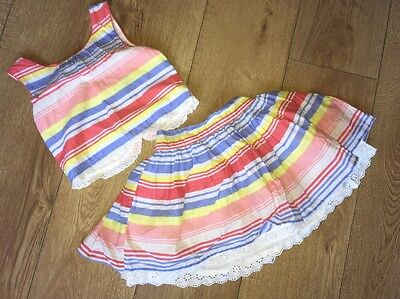 George Outfit Skirt & Top Pastel Stripes 4-5 Years Excellent Condition