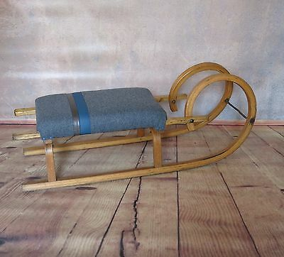 Vintage Sledge Sleigh Upholstered Into Bench/footstool