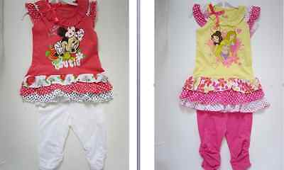 GIRLS DISNEY MINNIE MOUSE PRINCESS TUNIC/TOP & LEGGINGS SET/OUTFIT12m - 6 yrs