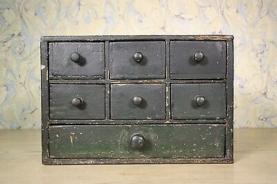 English Antique Bank of Apothecary Drawers in Original Paint.