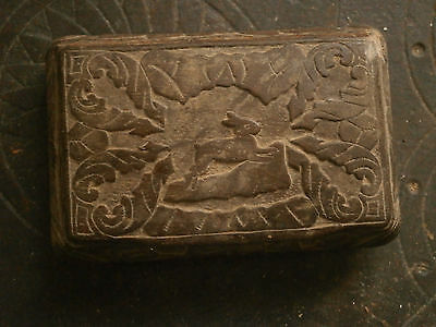 Rare Antique Unique Wooden Box Hand Carved