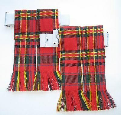 Kilt Hose Flashes Clan Macalister Tartan Worsted Wool Made In Scotland Kilts New