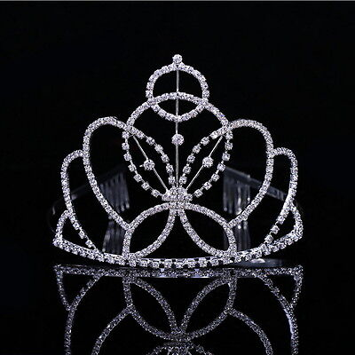 10cm High Adult Girl Crystal Wedding Bridal Party Pageant Prom Tiara Crown Combs