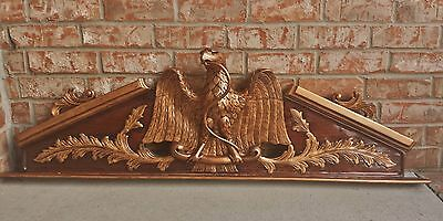 Architectural Salvage Federal Eagle Snake Gilt Mahogany Crown Pediment Large 50""