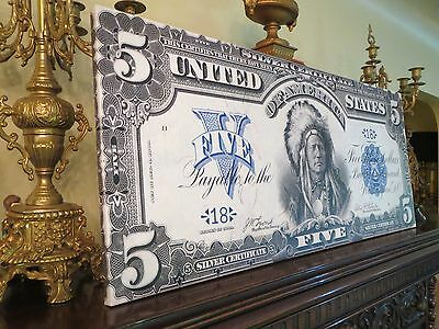 Huge Canvas Piece! - Us 1899 Note - $5 Chief Silver Certificate - Nice Wall Art