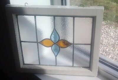 #1 Old English Stained Glass Window Panel (Small Cracks Near Center-Flower)