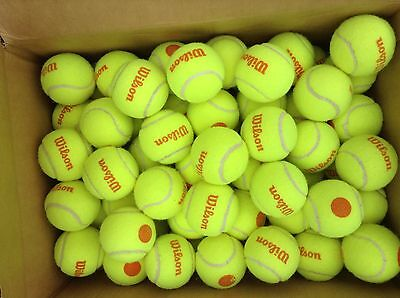 100 used LOW COMPRESSION HIGH VISIBILITY orange tennis balls --  High Quality