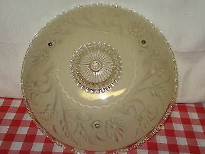 """Vintage/Antique 15"""" Frosted Glass Ceiling Light Shade - Reverse Painted-Art Deco"""