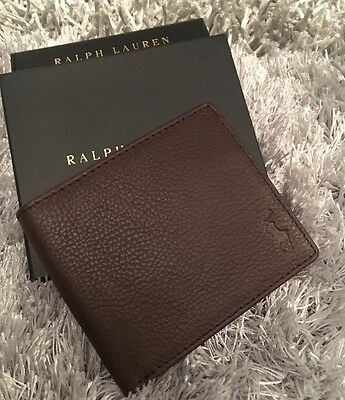 Polo Ralph Lauren Brown Leather Wallet Gift Box Mens AUTHENTIC CHRISTMAS Pony