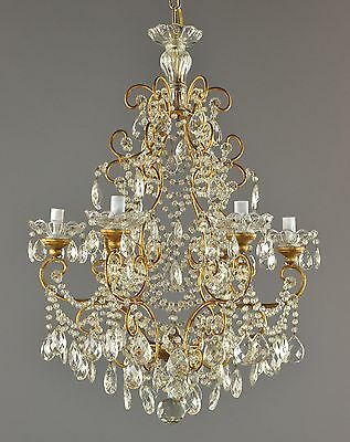 Maire Therese French Gilded & Crystal Chandelier c1940 Vintage Antique Glass Gol