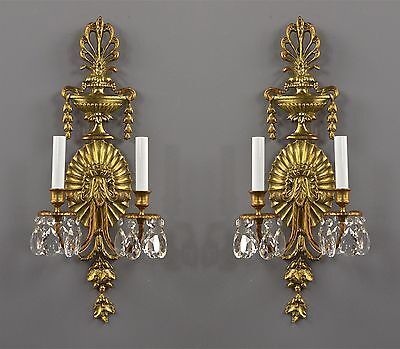 """24"""" Large Brass & Crystal Sconces c1950 Vintage Antique Tall Ornate French Style"""