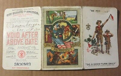 vintage 1930 Boy Scout 3 section Membership card Hoover Coolidge
