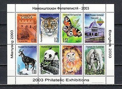 * Tajikistan, Scott cat. 220. Fauna & B/fly on Philatelic Exhibitions sheet.