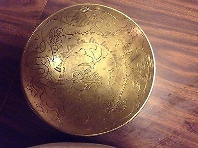 Chinese Double Dragon Brass Bowl, Deep Lines, Engraving Patina Vintage Hand Made