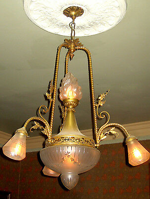 Early 1900 Gilded Chandelier with Cut Crystal Globes