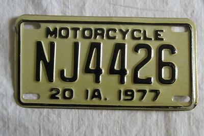 Iowa Motorcycle License Plate 1977