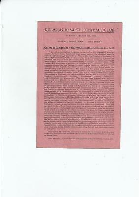 Oxford & Cambridge v Universities Athletic Union Programme 1944/45 at Dulwich