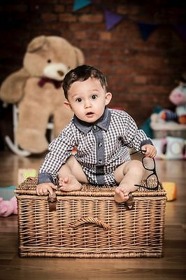 Baby boys checked bodyvest shirt  0-3-6-9-12 months new gift outfit vest body