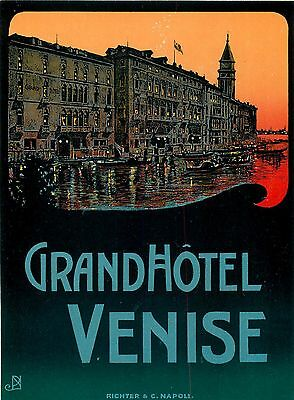 Venice Venise Italy Grand Hotel Large Old Richter Paschal Luggage Label