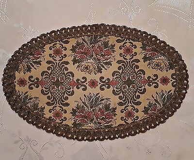 Vintage Victorian Flowers Beige Gold Tone Thread Oval Coaster Doily