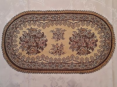 Vintage Victorian Flowers Gold Tone Thread Oval Coaster Doily Placemat