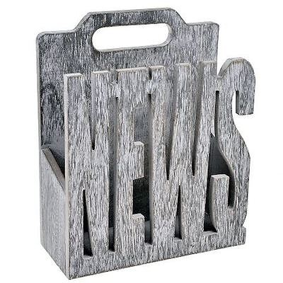 News Contemporary Grey Wooden Magazine Rack Newspapers Holder Storage Home Gift