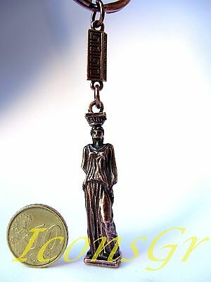 Ancient Greek Vintage Zamac Keyring Miniature Of Parthenon Acropolis Caryatid