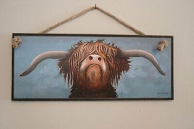 Scottish Highland Grumpy Cow Wooden Sign Plaque Print Picture