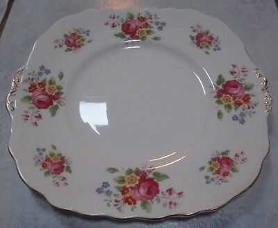 """Adderley Cake Plate 9"""" SUPERB Vintage Fine China Pink Roses Mixed Flowers & Gold"""