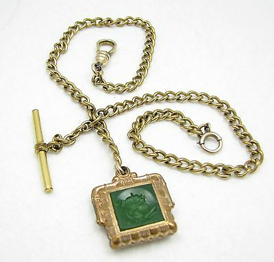 Antique Victorian Gold Filled Pocket Watch Chain w/ Intaglio Double 2 Sided Fob