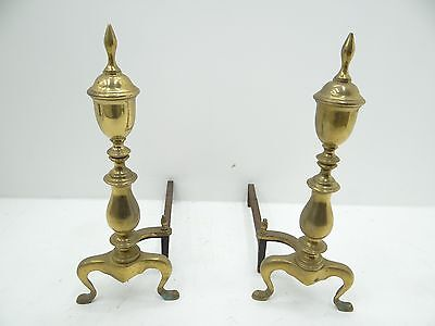 Vintage Pair Used Brass Cast Iron Large Hearth Fireplace Log Stands Andirons