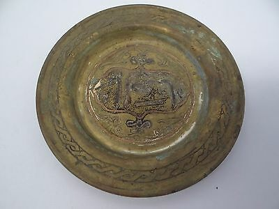 Antique Old Copper Silverplate Brass Chinese Inlayed Change Tray Decorative Used