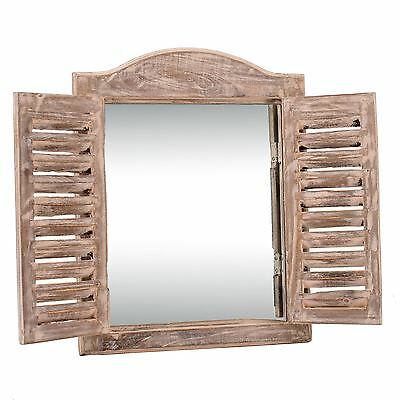 Distressed Wooden Louvered Shutter Arch top window Mirror Shabby Vintage chic