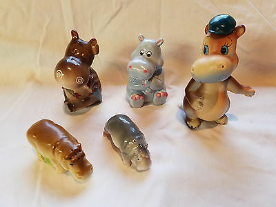 five hippo salt and pepper shakers singles with no partners