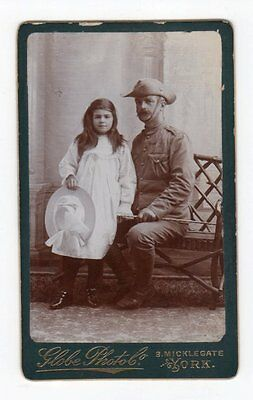CDV Military  Australian Soldier w Young Girl in York England by Globe photo