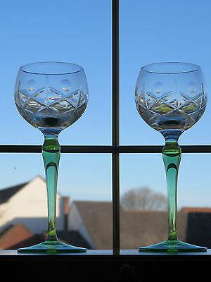 "x2 Vintage Green Stem Hock Glasses Wine Glass Champagne Glasses 7"" Tall"