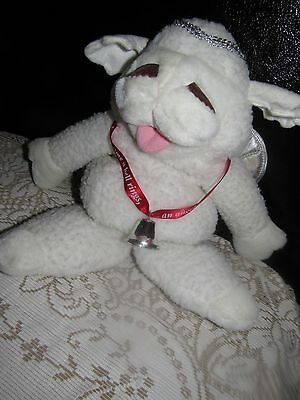 "Lamb Chop Plush 16"" Puppet angel Wings Halo Bell Shari Lewis 1993"