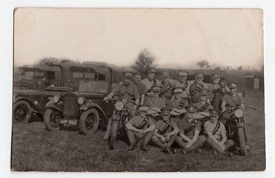 RPPC Military Royal Scots Greys 1935 w Army Vehicles motorbikes lorries