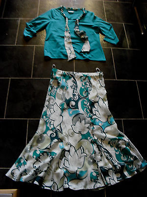 Ladies David Nieper green white skirt top suit Mother Of the Bride size 12-14