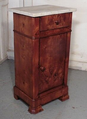 French Elm and Marble Bedside Cupboard