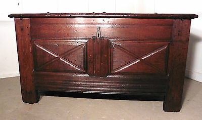A Heavy French Panelled Oak Coffer