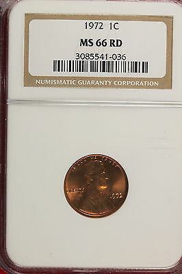 1972 Ngc Ms66 Red Lincoln Cent!!!! #A0458