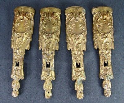 Bronze Antique Pediment: 4 French Empire 19thC Furniture Leg Mount Gilt Ornament