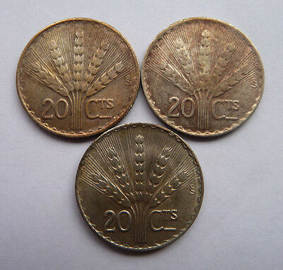 3 x Uruguay 20 Cent Coins (1942) - 72% Silver