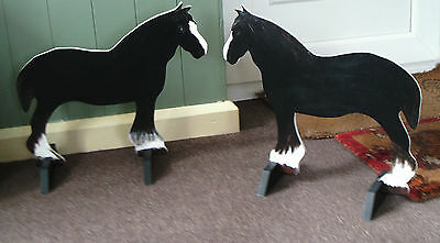 2 x SHIRE HORSES shaped Horse show jump fillers or wings pony show farm events
