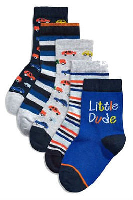 Next Five Pack Socks Shoe Size 0-2.5 For Baby Boy`s
