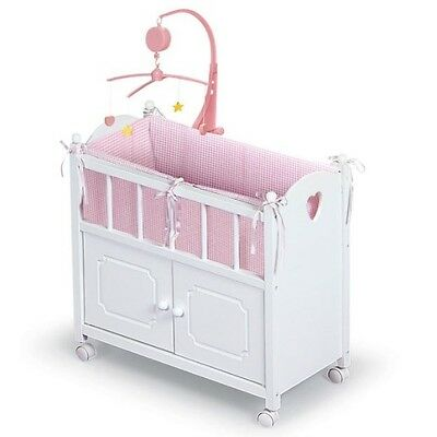 Baby Doll Crib With Cabinet Bedding Musical Mobile Toddler Toys For Girls White