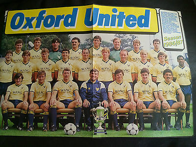 Team Group Photo Poster  - Oxford United 1986-87 Issued By Match