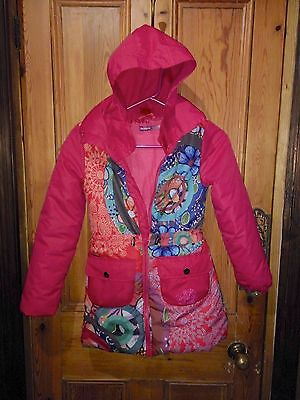 Desigual Girls Fuchsia Pink Hooded Quilted Coat Size Age 9 to 10